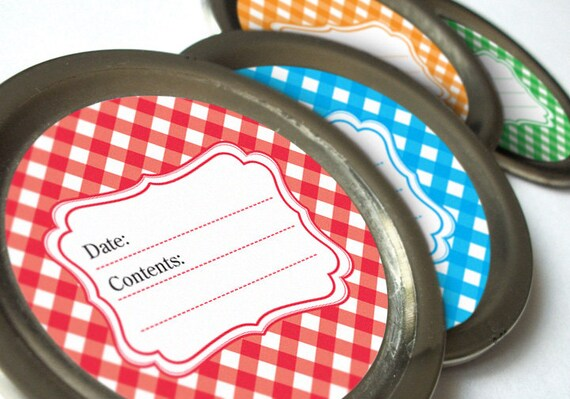 Gingham canning jar labels, 2 inch round stickers for fruit and vegetable preservation, jam jelly jar labels, regular or wide mouth labels
