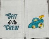 Baby boy race car burp cloth set personalized burp cloth set