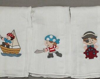 baby boy pirate burp cloth set