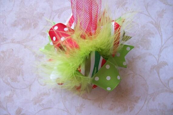 Christmas Hair Bow, Colorful Hair Ribbon, Custom Baby Hairbow, Ribbon Hair Clip, Baby Hair Bow Clip Bow