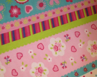 Flowers in Rows with Pink Handmade Fleece Blanket
