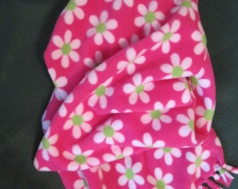 White Flowers on Pink Fleece Scarf