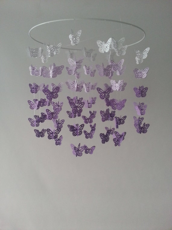 butterfly baby mobile nursery baby mobile ombre purple. Black Bedroom Furniture Sets. Home Design Ideas