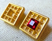 Gold Plated Clip-On Earrings with Settings for Rhinestones - 15mm Square -  Strong Hinged High Quality Metal Casting