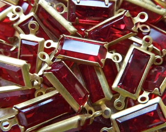 Vintage Swarovski Red Rhinestone Connector Links, Rectangle Connector Links, 16mm Prong Set  - Qty 6 Pcs