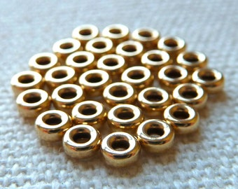 14k Gold Filled Tiny Rondelle Beads -  3mm  -  Tiny Spacer Beads -  Qty 15 pcs
