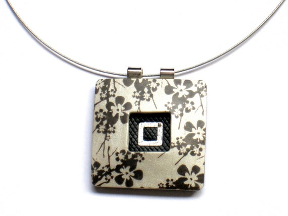 Polymer Clay Pendant  - Holidays sale 20% off -          black floral print on light silvery gray square Statement Necklace