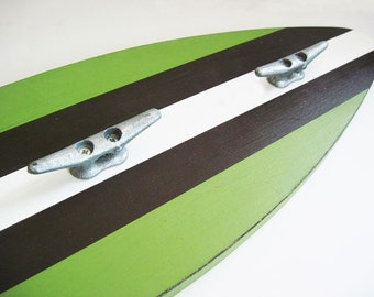 """Green and Brown Wood Surfboard Coat Rack 28"""" with 3 Boat Cleats"""