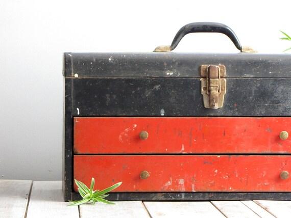 vintage industrial red / black metal toolbox