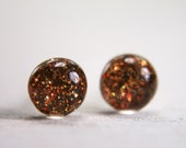 tiny globe earrings in sparkly copper - 5mm