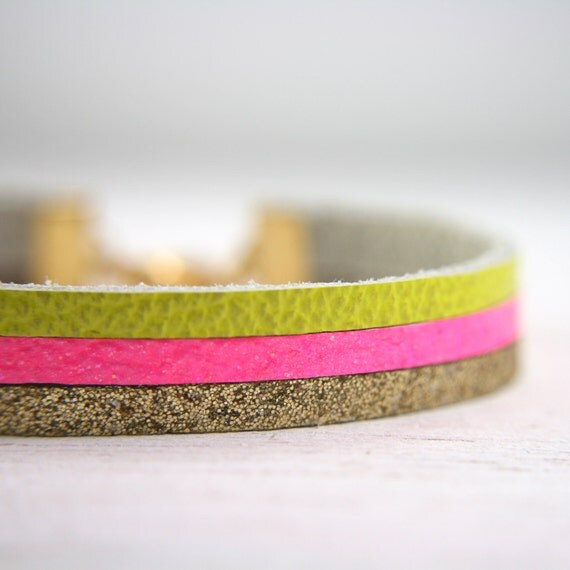 leather bracelet in hot pink, neon yellow, and glittery gold - multicolor bracelet