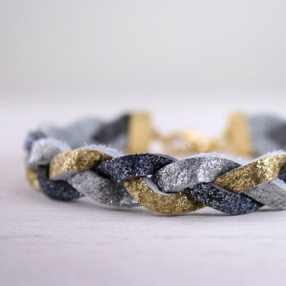 glittery gold, silver, and charcoal braided leather bracelet - multicolor glitter bracelet