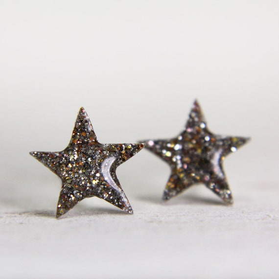 tiny star post earrings in sparkly white gold space earrings gold glitter studs