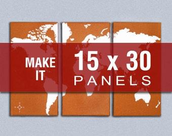 Make it 15x30 - World Map Triptych Canvas Giclee