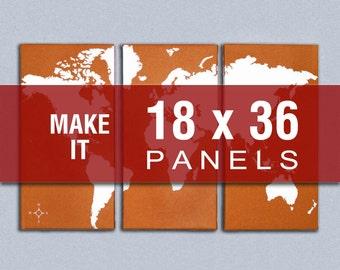 Make it 18x36 - World Map Triptych Canvas Giclee