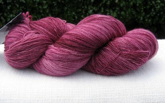 SALE Hand Dyed Superwash Merino Lace Yarn, Burgundy Colorway, 980 Yards