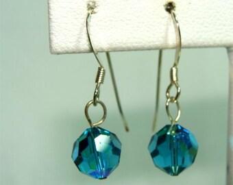 Aqua Swarovski Glass EARRINGS Handmade with STERLING Silver