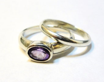Stacking Rings Oval Rose Amethyst - Size 7 1/4