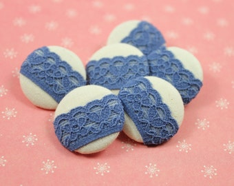 Lace Fabric Buttons - Jeans Blue Floral Lace Fabric Buttons, 1 inch  (6 in a set)