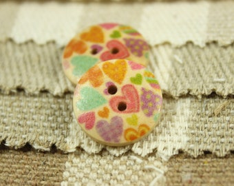 Wooden Buttons with Colorful Polka Heart Picture,  0.71 inch, 10 pcs,