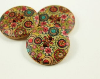 Flower Wooden Buttons -  Luxuriant Tropical Flower Bloomings Picture Nature Wood Buttons 1 inch. 6 in a set