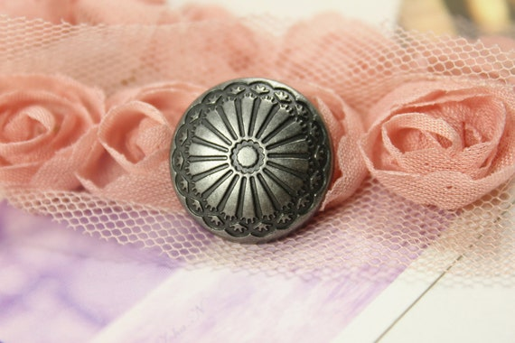 Metal Buttons - Flower Carving Metal Buttons , Retro Silver Color , Shank , 0.79 inch , 10 pcs