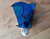 Stained Glass Blue Moon Night Light
