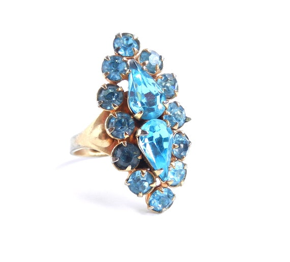 Vintage Light Blue Rhinestone Ring - Gold Tone Adjustable Costume Statement Jewelry / Baby Blue Bling