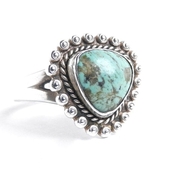 Vintage Sterling Silver Turquoise Ring - Size 8.5 Signed Native American Studded Jewelry / Natural Seafoam Green