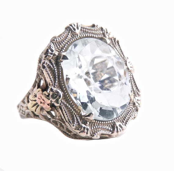 14K White Gold Icy Blue Stone Filigree Ring - Antique Art Deco Ornate Fine Jewelry / Floral French