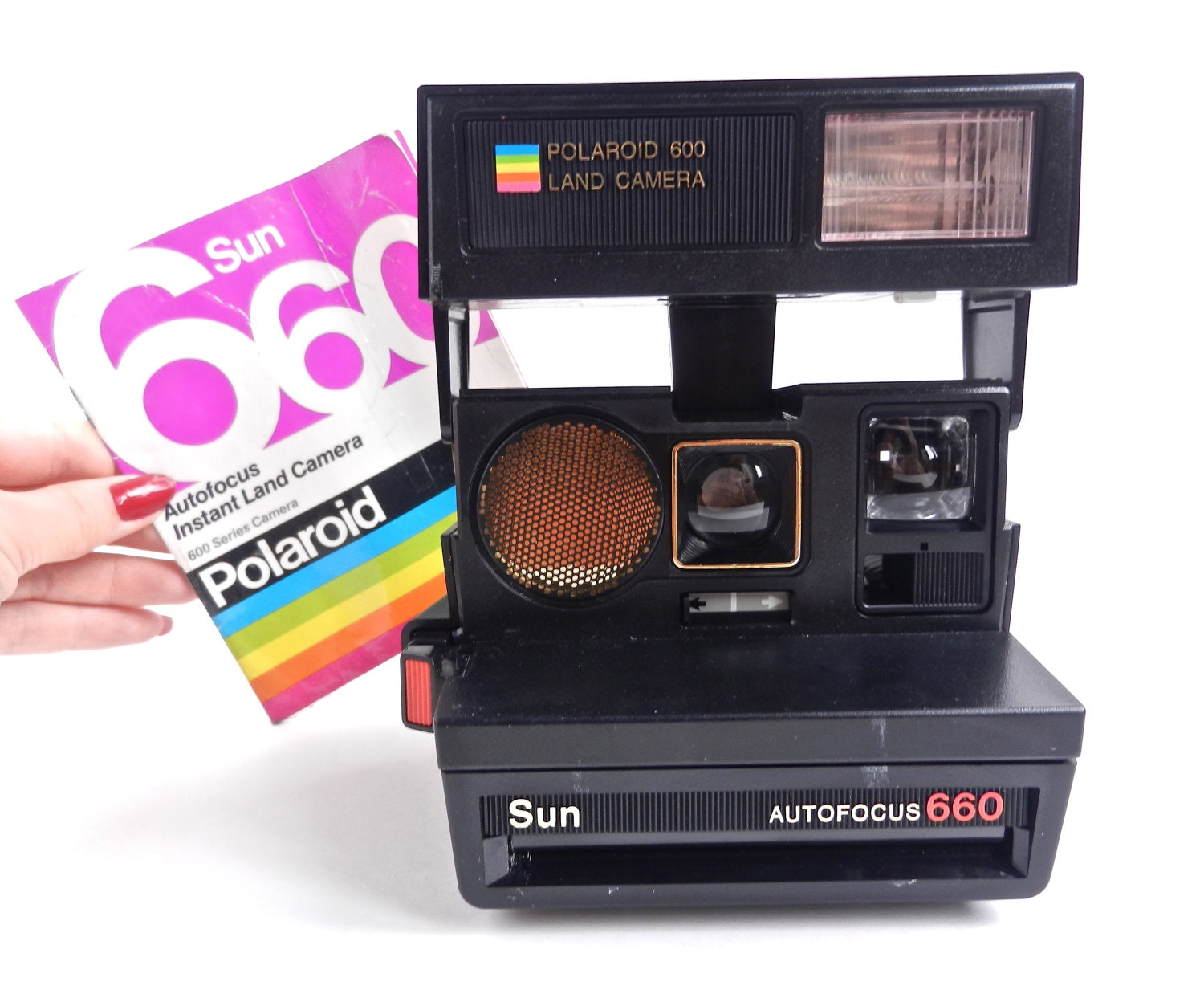 vintage polaroid camera polaroid sun 660 autofocus with. Black Bedroom Furniture Sets. Home Design Ideas