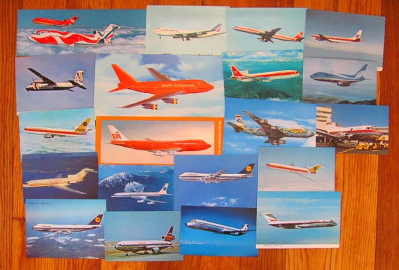 Get Easy Set of 20 Vintage 50s 60s 70s Mod Jet Set US and International Airlines Postcards