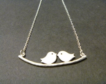 Love birds necklace, birds on a branch necklace, twin or two sisters, best friends, couples necklace