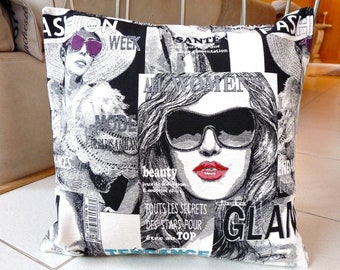 Black and White Glamour  Pillow Cover 16 x 16 inch - Fashion  Magazine Pillow Case - Decorative Vogue Pillow