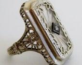 Reserved - Vintage Antique Art Deco Fine 14k White Gold Filigree Camphor Glass Diamond Ring size 4 1/2