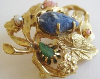 Vintage 60s Designer Gold Jeweled Leaf Floral Brooch Pin