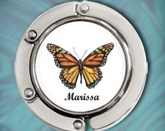 Personalized Purse Hook Purse Hanger - Monarch Butterfly