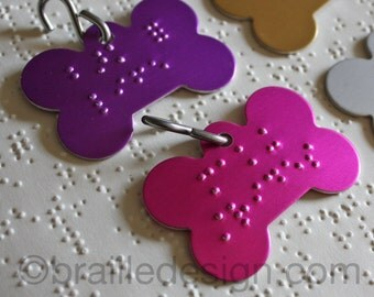 Braille dog collar tag with custom embossing