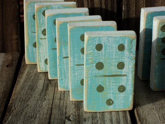Wooden Dominoes, Blues and Greens, Beach-y Cottage Decor, Vintage Style Shelf Sitters