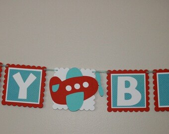 Small Happy Birthday Bargain banner Blue and red airplane