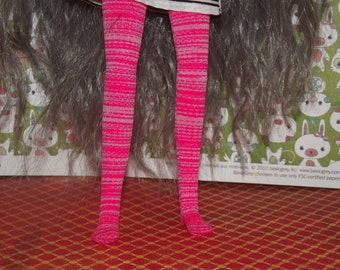 Pink and white stripped tights leggins for Pullip doll