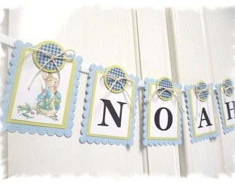 PETER RABBIT Nursery Banner - Child Name Banner - Beatrix Potter Nursery / Shower Theme - Baby Blue and Spring Moss Green Color Scheme