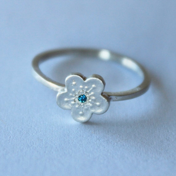 tiny diamond flower ring. sakura cherry blossom. solid white gold or sterling silver • • pico diamond ring