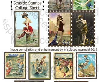 Seaside Faux Postage Stamps Digital Collage Sheet