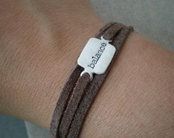 rectangle leather wrap bracelet | hand stamped sterling silver |suede wrap bracelet | balance inspirational word bracelet | READY TO SHIP