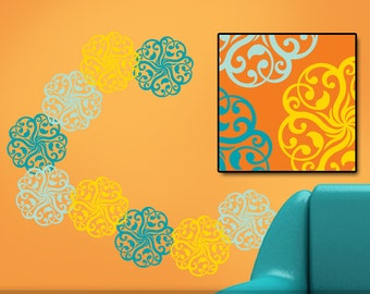 9 Mandala Wall Decals, Mandala Doily Art Vinyl Wall Decal Designs (00166)