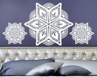Doily Wall Decor - Vinyl Wall Decals Victorian Crochet Pineapple Lace Doily Art Design, Romantic Bedroom Decor, Headboard decal, DIY Home
