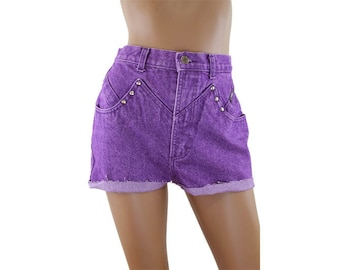 Purple Stone Washed Studded High Waist Jean Short Cutoffs Size 26