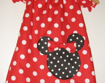 Minnie's Red  polka dots peasant dress  short sleeves  available in sizes 18 months, 2t,3t,4t,5t,6,7,8