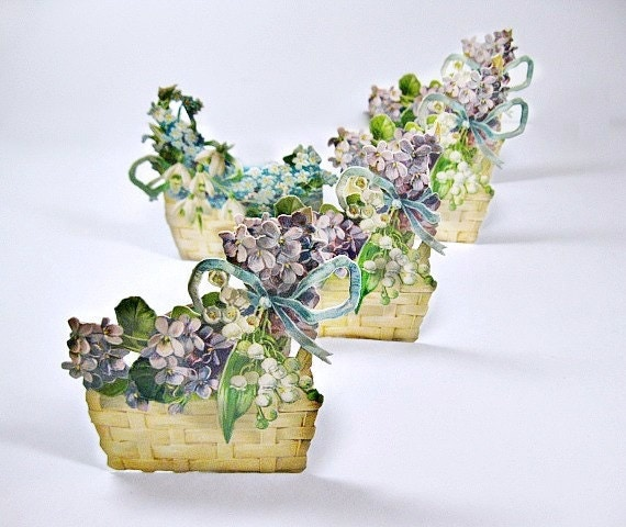 Victorian Die Cut Scraps, Violet Flowers in Baskets Placecards